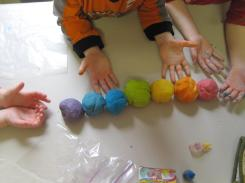A complete rainbow of playdough colors, including indigo and violet.  Thank you, Cat in the Hat, for teaching my kids the Rainbow Song.  I sing it in my sleep.