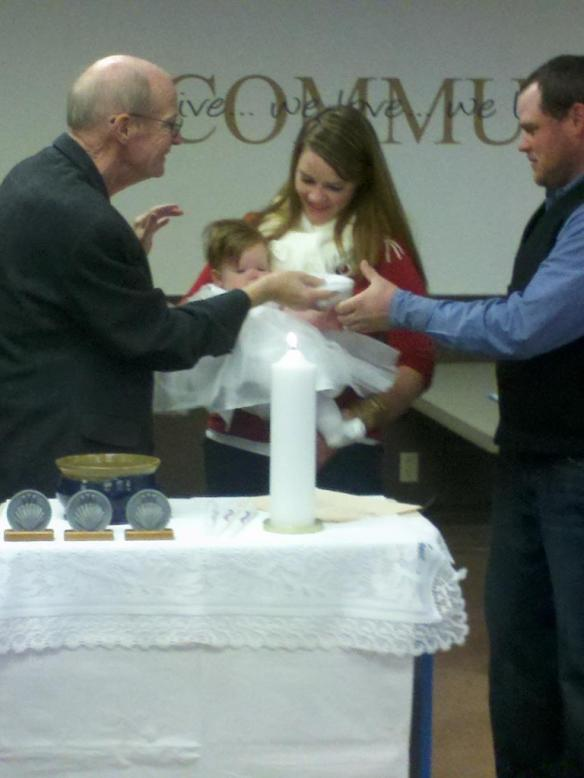 A big family crowd watched our two nieces get baptized over the holiday weekend.