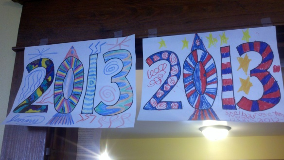 "Kids and even a few adults helped decorate our dining room by coloring ""2013"" signs."