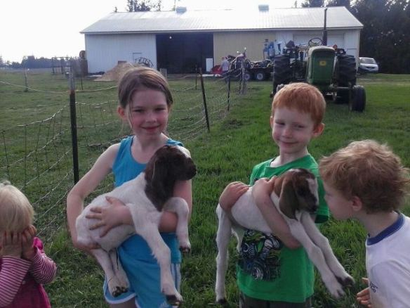 Our kids holding the new goat kids, with their little sister impatiently waiting for a turn.
