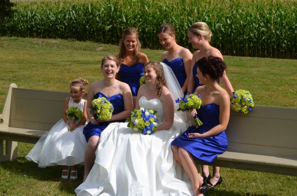 Sheila and her bridesmaids share a laugh.
