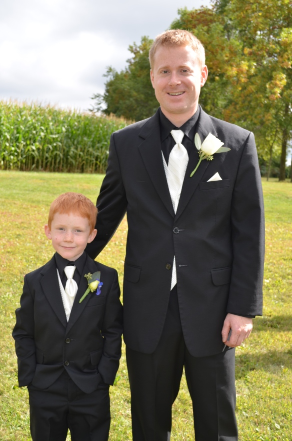 Mark the groom and my son, looking like Mini Mark.