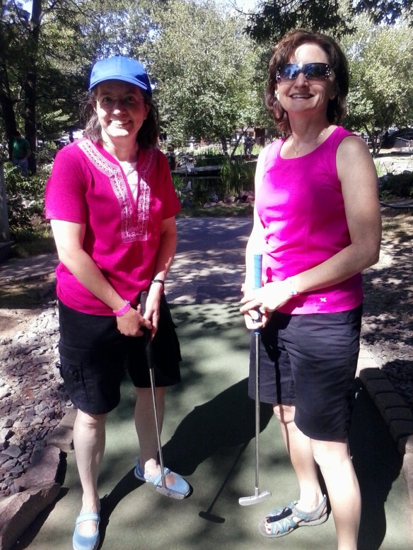My sisters, Karen Davis and Sue Kramer, taking the mini golf world by storm this summer.