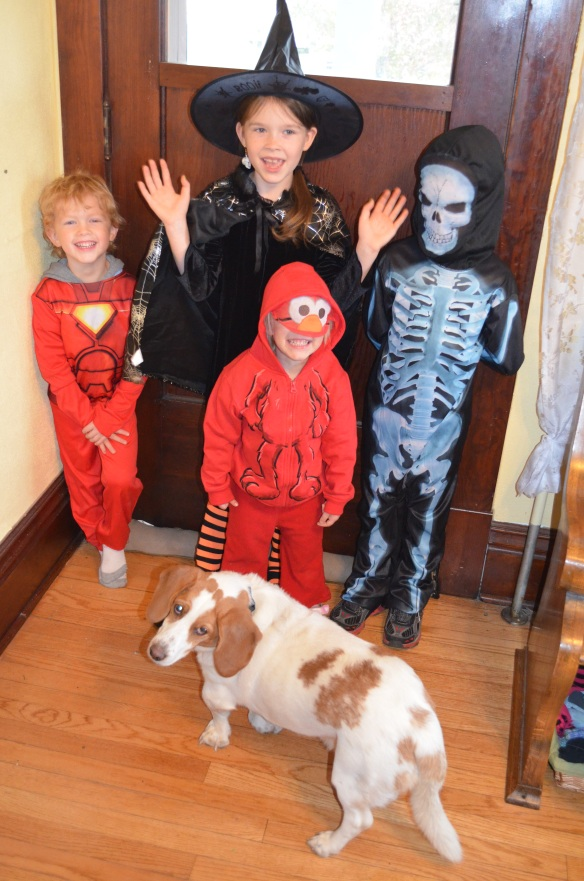 No photo exists of my long ago Halloween night with a pig farmer and Skeletor, so you have to use your imagination.  As a substitute, here are my kids this year: Iron Man, a Witch, Elmo and a Skeleton, Spot the dog as himself.
