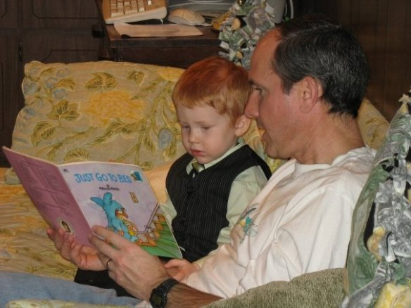 If you find a book you like from Grandma's collection by the couch, Uncle David will read you a story.