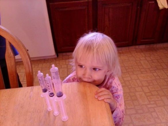 "The bad news: five of us had strep throat in the last ten days, just before a big road trip.  The good news: my daughter has great imagination and coordination to arrange empty medicine syringes to look like rockets, telling me ""One, two, three...blast off!"""