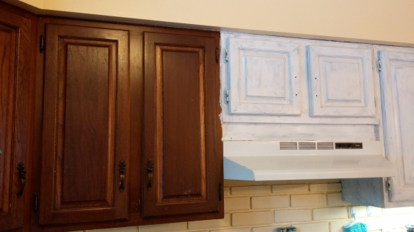 Currently, my cabinets are a classy mix of half streaky paint and half dark wood.  Be it resolved that the cabinets will actually get painted this year.